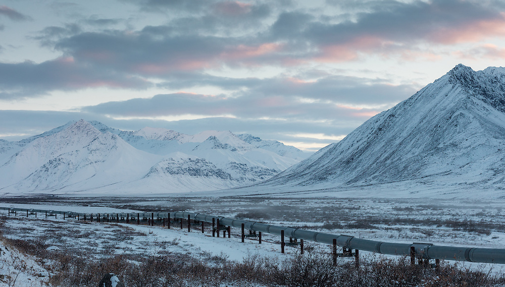 The oil pipeline originating from Prudhoe Bay, runs through the Brooks Range in Alaska.  It makes for an interesting juxtaposition between man and nature.  I love the juxtaposition of man and nature in this shot.