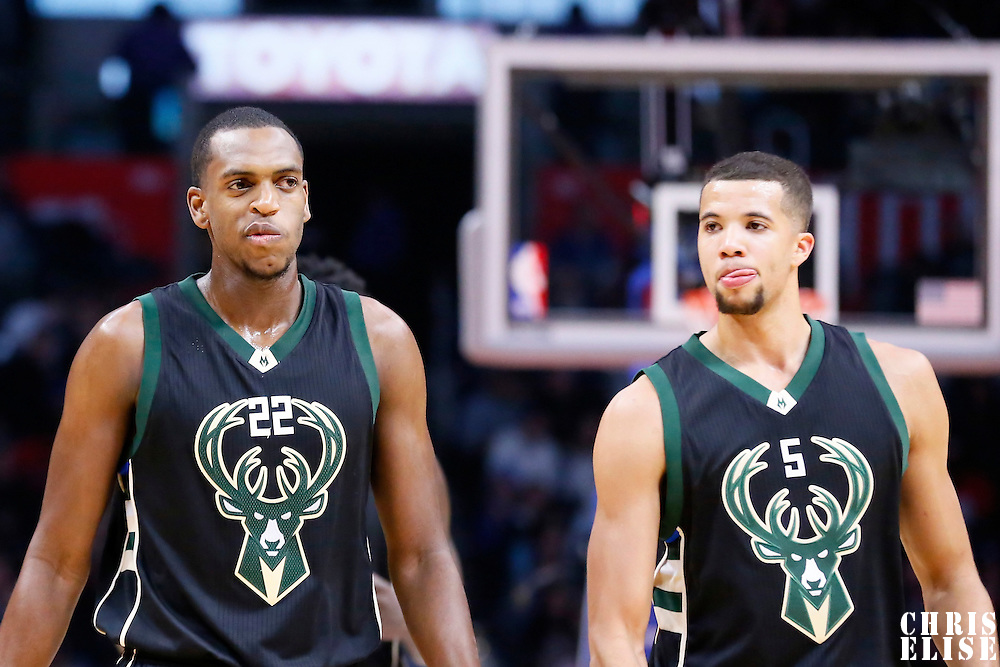 16 December 2015: Milwaukee Bucks guard Khris Middleton (22) is seen next to Milwaukee Bucks guard Michael Carter-Williams (5) during the Los Angeles Clippers 103-90 victory over the Milwaukee Bucks, at the Staples Center, Los Angeles, California, USA.