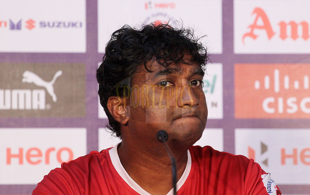 Chennaiyin FC assistant coach Vivek Nagul during the press conference of match 50 of the Hero Indian Super League between Chennaiyin FC and FC Goa held at the Jawaharlal Nehru Stadium, Chennai, India on the 5th December 2014.<br /> <br /> Photo by:  Vipin Pawar/ ISL/ SPORTZPICS