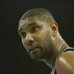 05 May 2008: San Antonio Spurs center Tim Duncan stares at a official in the second half of the NBA Playoff Semi-Finals Game 2, a 102-84 victory by the New Orleans Hornets that gave the team a 2-0 series lead over the defending NBA Champion San Antonio Spurs at the New Orleans Arena in New Orleans, LA.