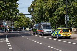 © Licensed to London News Pictures. 29/08/2019. London, UK. The scene where a 39-year-old male has been fatally stabbed on Brixton Hill in Lambeth. Metropolitan Police and London Ambulance Service attended along with the London Air Ambulance. Two males have been arrested. Photo credit: Peter Manning/LNP