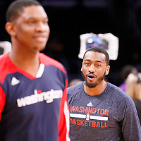 21 March 2014: Washington Wizards guard John Wall (2) is seen warming up prior to the Washington Wizards 117-107 victory over the Los Angeles Lakers at the Staples Center, Los Angeles, California, USA.