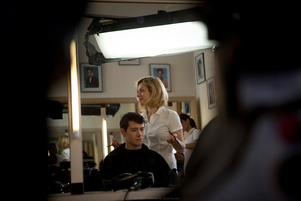 """Tournage du film """"Pas son genre"""" de Lucas Belvaux, adaptation du roman éponyme de Philippe Vilain. Arras 2013."""