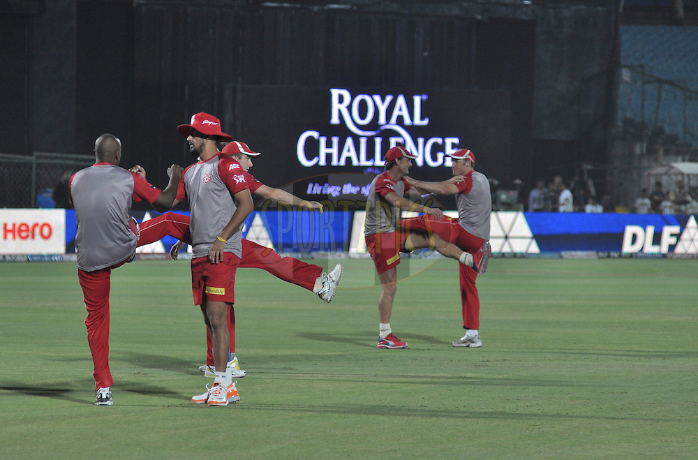 Kings XI Punjab team warm up before match 4 of the the Indian Premier League ( IPL) 2012  between The Rajasthan Royals and the Kings X1 Punjab held at the Sawai Mansingh Stadium in Jaipur on the 6th April 2012..Photo by Arjun Pawar/IPL/SPORTZPICS