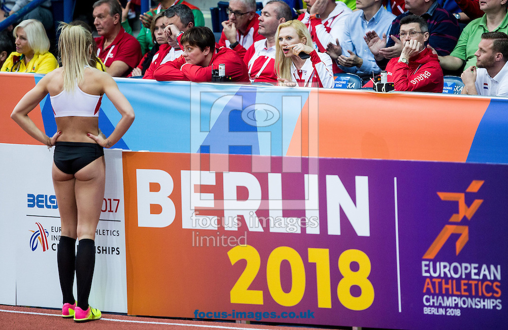 Ivona Dadic of Austria with her coach during the Pentathlon High Jump Women on day one of the 34th European Indoor Athletics Championships Belgrade 2017 at the Kombank Arena, Belgrade<br /> Picture by EXPA Pictures/Focus Images Ltd 07814482222<br /> 03/03/2017<br /> *** UK &amp; IRELAND ONLY ***<br /> <br /> EXPA-SLO-170303-0024.jpg