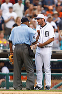 May 31, 2010: Umpire Laz Diaz and Detroit Tigers' Justin Verlander (35) during the MLB baseball game between the Oakland Athletics and Detroit Tigers at  Comerica Park in Detroit, Michigan. Oakland defeated Detroit 4-1.