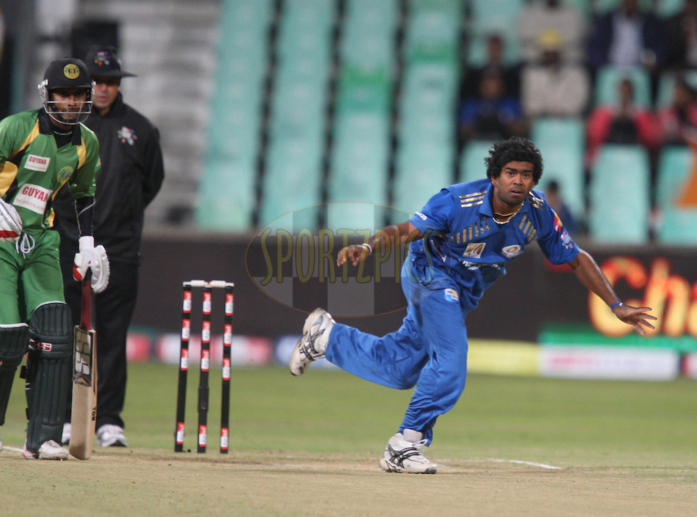 Lasith Malinga during match 10 of the Airtel CLT20 between The Mumbai Indians and Guyana held at Kingsmead Stadium in Durban on the 16 September 2010..Photo by: Steve Haag/SPORTZPICS/CLT20.