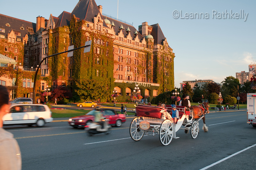 The grand old Empress Hotel in Victoria BC is landmark on the Inner Harbour.