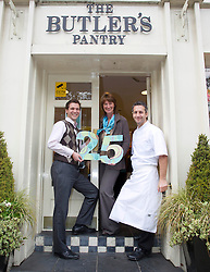 Repro Free: 10/11/2012.The Butler's Pantry Serving Up Fantastic Food for 25th Years!.Eoin Warner, Jacquie Marsh, and Niall Hill celebrating the Butler's Pantry 25th Birthday this weekend at their newly refurbished Sandymount Shop with their new packaging. Pic Andres Poveda..For further information please contact : Ann-Marie Sheehan, Aspire PR, Telephone 087 298 5569 or email annmarie@aspire-pr.com