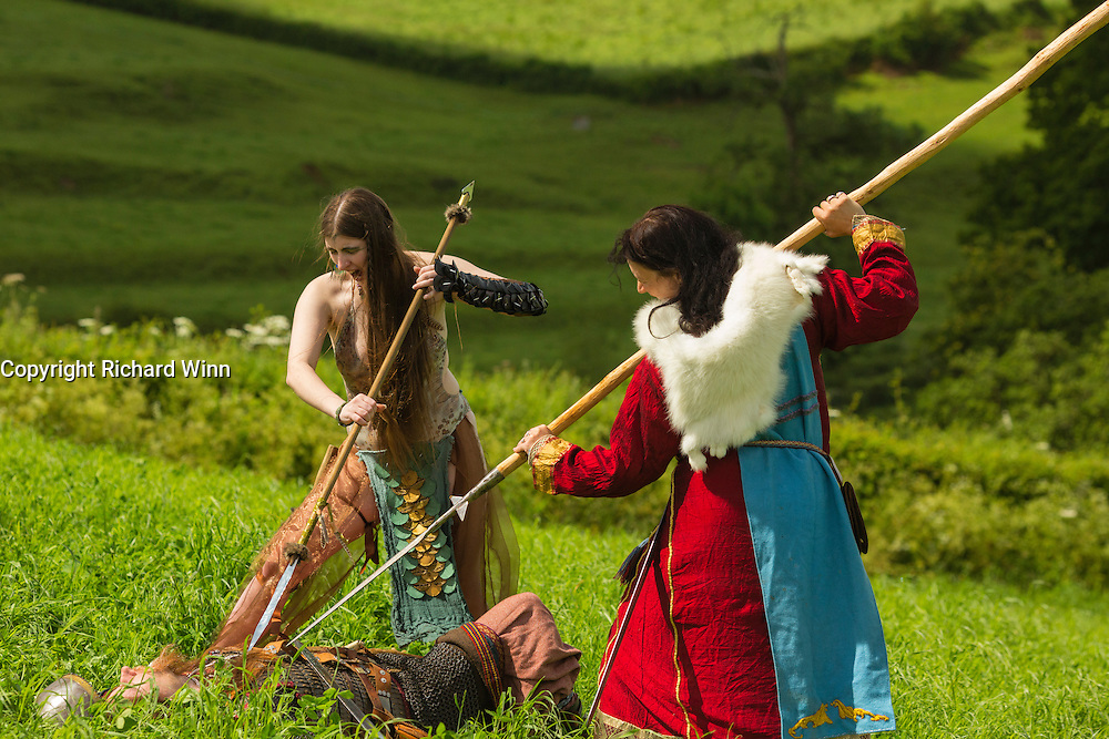 Kalygulina, Freyja Shieldmaiden and Ragnar in a battle scene at the Dragonslayer shoot.