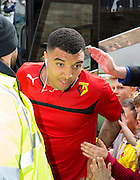 Watford Troy Deeney getting off club coach during the Sky Bet Championship match between Watford and Sheffield Wednesday at Vicarage Road, Watford, England on 2 May 2015. Photo by Phil Duncan.