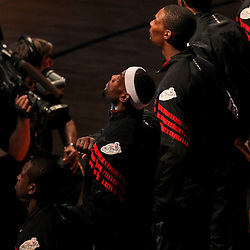 Jun 19, 2012; Miami, FL, USA; Miami Heat players Miami Heat Dwyane Wade,  LeBron James and Chris Bosh before game four of the 2012 NBA Finals against the Oklahoma City Thunder at the American Airlines Arena. Mandatory Credit: Derick E. Hingle-US PRESSWIRE