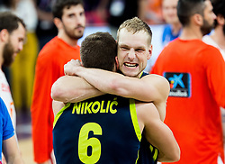 Aleksej Nikolic of Slovenia and Jaka Blazic of Slovenia celebrate after winning during basketball match between National Teams of Slovenia and Spain at Day 15 in Semifinal of the FIBA EuroBasket 2017 at Sinan Erdem Dome in Istanbul, Turkey on September 14, 2017. Photo by Vid Ponikvar / Sportida