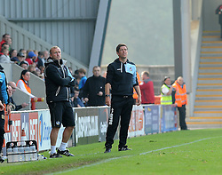 New Bristol Rovers coach, Steve Yates with manager Darrell Clarke - Mandatory byline: Neil Brookman/JMP - 07966 386802 - 03/10/2015 - FOOTBALL - Globe Arena - Morecambe, England - Morecambe FC v Bristol Rovers - Sky Bet League Two