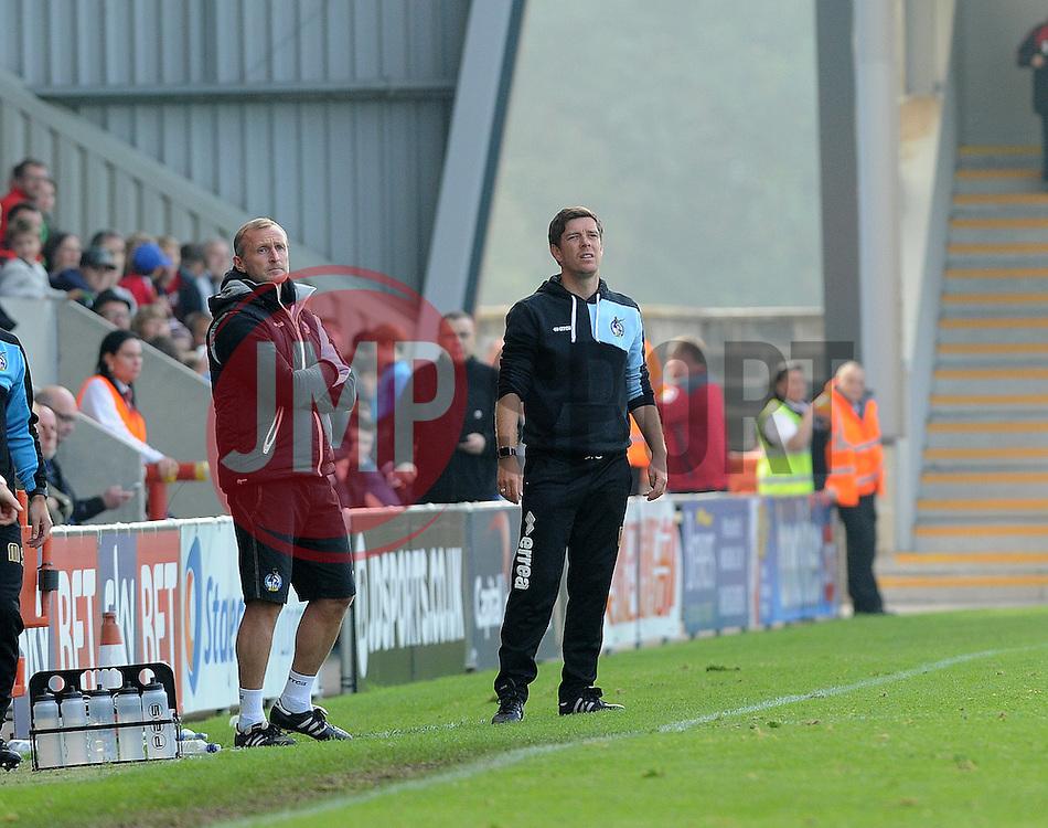 New Bristol Rovers coach, Steve Yates with manager Darrell Clarke - Mandatory byline: Neil Brookman/JMP - 07966 386802 - 03/10/2015 - FOOTBALL - Globe Arena - Morecambe, England - Morecambe FC v Bristol Rovers - Sky Bet League Two