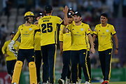 Hampshire celebrate the wicket of Dawid Malan during the Vitality T20 Blast South Group match between Hampshire County Cricket Club and Middlesex County Cricket Club at the Ageas Bowl, Southampton, United Kingdom on 20 July 2018. Picture by Dave Vokes.