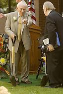 Ben Gilman, left, points to the spot for the ceremonial groundbreaking for SUNY Orange's planned Gilman Center for International Education on the college's Middletown campus on Aug. 2, 2007. Gilman and his friend John Bradamus, right, were both longtime Congressmen. Brademus, president emeritus of New York University, was the keynote speaker.