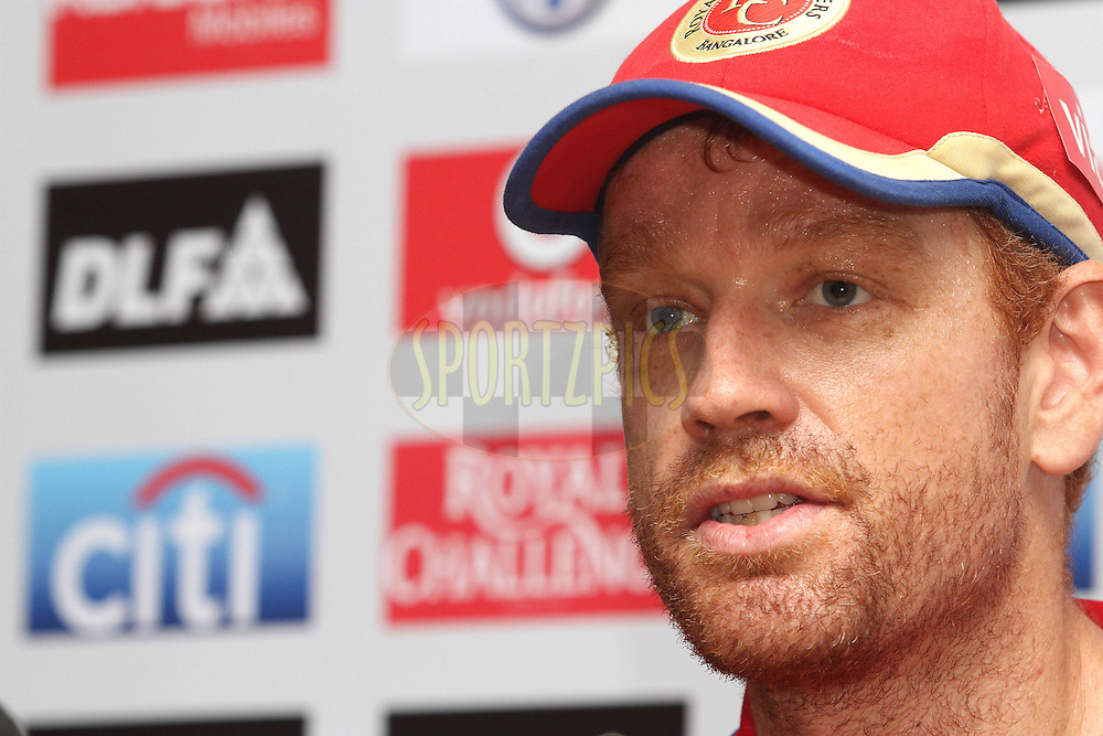 Andrew McDonald of the Royal Challengers Bangalore during the post match press conference after match 25 of the the Indian Premier League (IPL) 2012  between The Kings X1 Punjab and The Royal Challengers Bangalore India held at the Punjab Cricket Association Stadium, Mohali on the 20th April 2012..Photo by Shaun Roy/IPL/SPORTZPICS