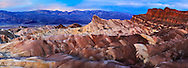 Pre Dawn Light Over Zabriskie Point In Death Valley National Park, Panoramic View, California, USA