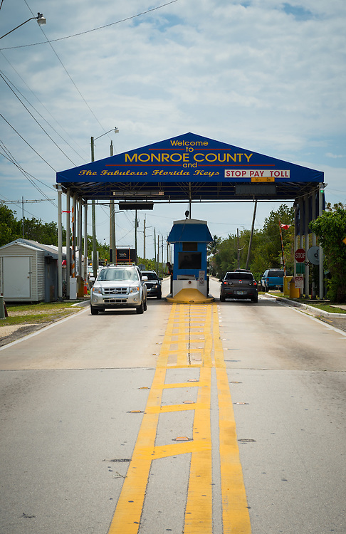 MIAMI - CIRCA 2012: View of toll booth over Car Sound Road, entrance to the Florida Keys circa 2012. This is a very popular tourist destination with over 2 million yearly visitors.