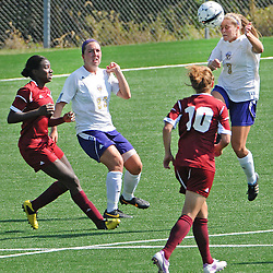 Photos by Tom Kelly IV<br /> WCU's Noelle Harner (3) gets a head on the ball during the Indiana University of Pennsylvania (IUP) vs West Chester University (WCU) women's soccer game in East Bradford Township, Wednesday afternoon October 2, 2013.