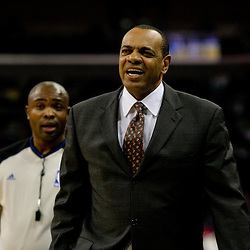 Jan 20, 2010; New Orleans, LA, USA; Memphis Grizzlies head coach Lionel Hollins reacts to a call by official Courtney Kirkland during the first half at the New Orleans Arena. Mandatory Credit: Derick E. Hingle-US PRESSWIRE