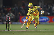 Suresh Raina of the Chennai Super Kings attempts to make his ground during match 13 of the Airtel CLT20 between The Superkings and the Victorian Bushrangers held at St Georges Park in Port Elizabeth on the 18 September 2010..Photo by: Shaun Roy/SPORTZPICS/CLT20