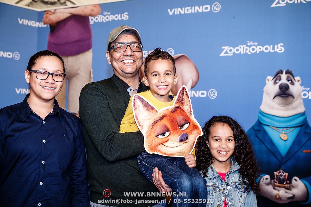 NLD/Amsterdam/20160213 - Premiere Zootropolis, Jorgen Rayman en kinderen