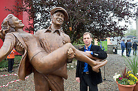 Sculptor Mark Rode  with his statue  of the lead actors John Wayne and Maureeen O Hara from the quiet Man Film. Picture:Andrew Downes