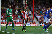 Ramallo Jota after a good chance during the Sky Bet Championship match between Brentford and Ipswich Town at Griffin Park, London, England on 8 August 2015. Photo by Matthew Redman.