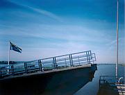 Nederland 1997, brug Ramspol (tussen Emmeloord en Kampen). De brug is inmiddels vervangen door een grotere, de fundamenten van de oude brug zijn nog zichtbaar op de luchtfoto.