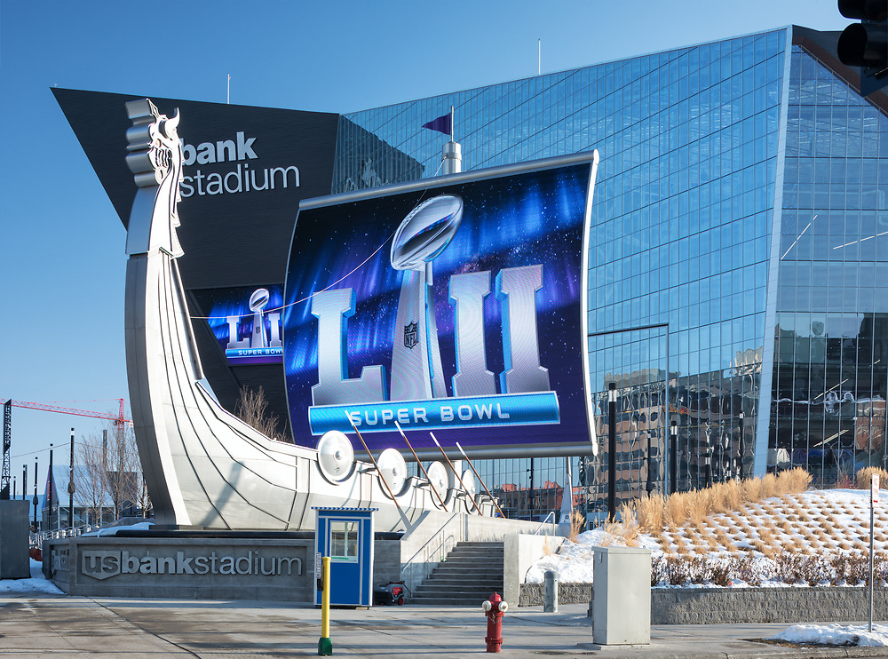 Minneapolis, MN - January 27, 2017: US Bank Stadium exterior depicting graphics advertising the upcoming SuperBowl LII events taking place in Minneapolis, Minnesota. The big game will be held at the stadium on Feb 4, 2018 with the Philadelphia Eagles playing the New England Patriots.