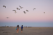 Children play at East Beach on Galveston Island. Photographed Wednesday evening February 22, 2017 for Texas Highways Magazine.<br /> <br /> Nathan Lindstrom for Texas Highways<br /> <br /> ©2017 Nathan Lindstrom