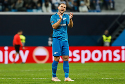 February 21, 2019 - Saint Petersburg, Russia - Branislav Ivanovic of FC Zenit Saint Petersburg gestures during the UEFA Europa League Round of 32 second leg match between FC Zenit Saint Petersburg and Fenerbahce SK on February 21, 2019 at Saint Petersburg Stadium in Saint Petersburg, Russia. (Credit Image: © Mike Kireev/NurPhoto via ZUMA Press)