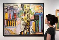 Edinburgh, Scotland, UK; 2 August, 2018. Painting City Panorama by Edwin G. Lucas at preview of new exhibition by the artist at City Art Centre in Edinburgh.. Edwin G. Lucas (1911-1990) was one of the most unique Scottish painters of the 20th century. Born and raised in Edinburgh, he channelled the influence of Surrealism in his work, cultivating an original and highly imaginative style of painting during the 1940s and 50s that set him apart from his contemporaries. Today, however, he is virtually unknown.