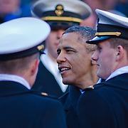 President Obama speaks with Navy Midshipmen in the stands during the 112th version of the Army & Navy rivalry Saturday, Dec. 10, 2011 at Fed EX field in Landover Md. ..Navy set the tone early in the game as Navy defeats Army 31-17 in front of 82,000 at Fed EX Field in Landover Md