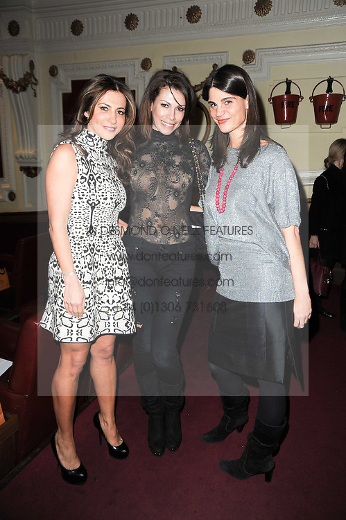 Left to right, ELLA KRASNER, LADY KINGSLEY (Daniela Barbosa) and KATRINA PAVLOS at an In-House screening of 'Sweet Smell of Success' hosted by Clive Owen presented by Tod's in association with Amend held at The Electric Cinema, 191 Portobello Road, London W11 on 29th November 2010.