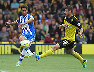 Picture by David Horn/Focus Images Ltd +44 7545 970036<br /> 28/09/2013<br /> Daniel Pudil (right) of Watford and Ryan Shotton of Wigan Athletic (left) during the Sky Bet Championship match at Vicarage Road, Watford.