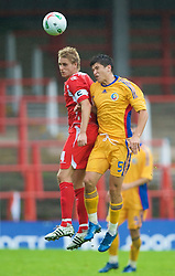 WREXHAM, WALES - Wednesday, August 20, 2008: Wales' captain David Edwards and Romania's Cristian Tanase during the UEFA Under 21 European Championship Qualifying Group 10 match at the Racecourse Ground. (Photo by David Tickle/Propaganda)