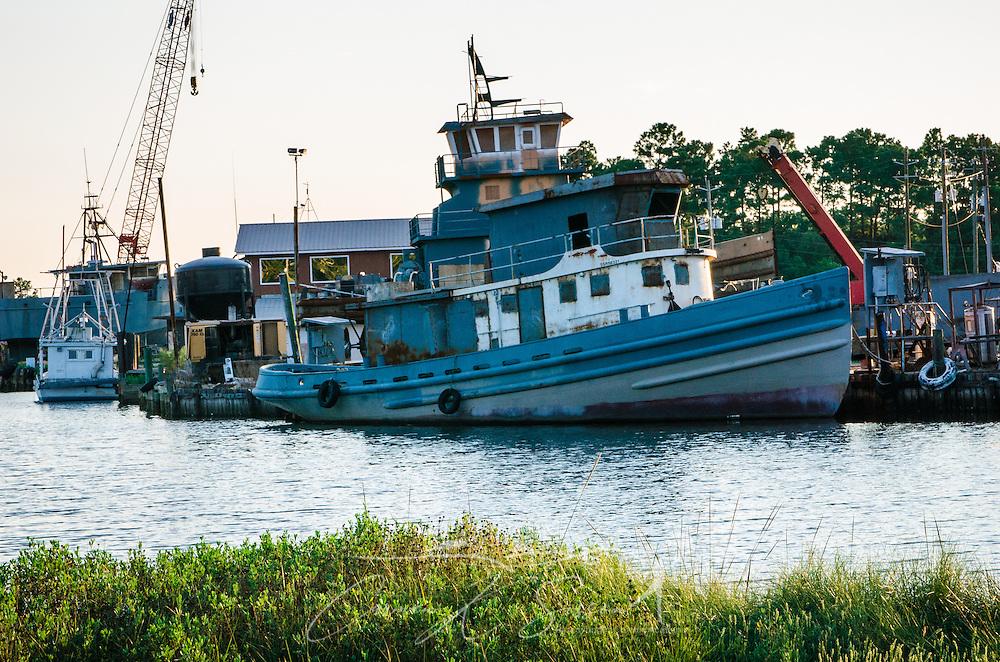 A boat is docked in Bayou La Batre, Alabama. (Photo by Carmen K. Sisson/Cloudybright)