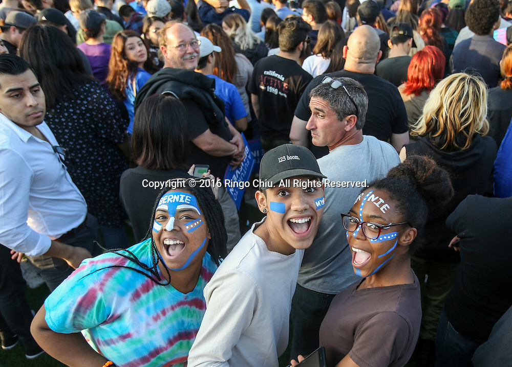 Democratic presidential candidate Bernie Sanders supporters in a rally at Ganesha High School Stadium in Pomona Calif., on May 26, 2016.(Photo by Ringo Chiu/PHOTOFORMULA.com)<br /> <br /> Usage Notes: This content is intended for editorial use only. For other uses, additional clearances may be required.