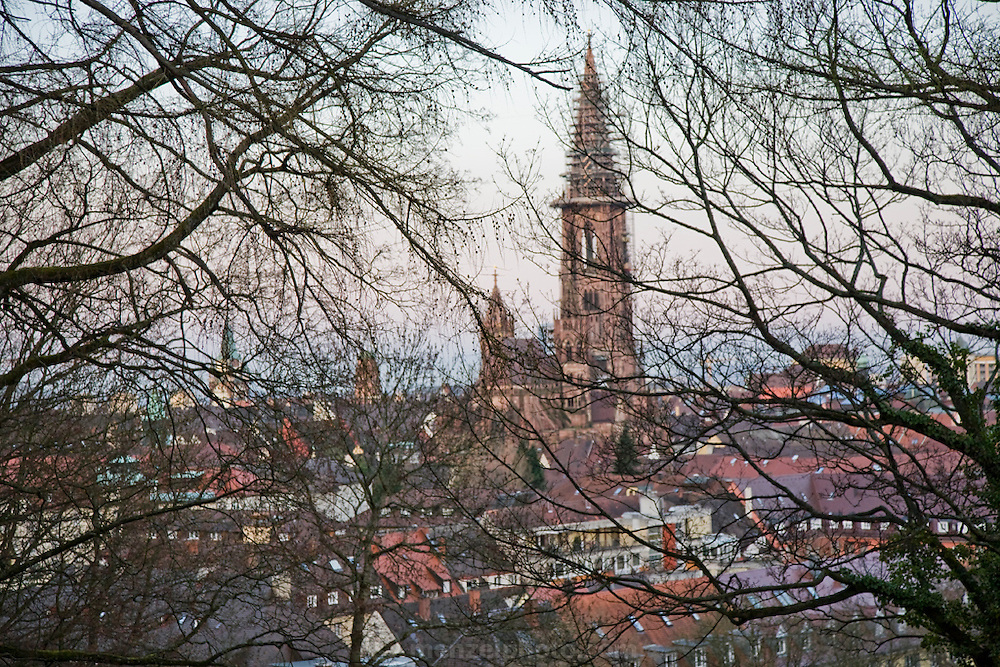 The rising sun casts a golden glow over the city of Freiburg im Breisgau, Germany.