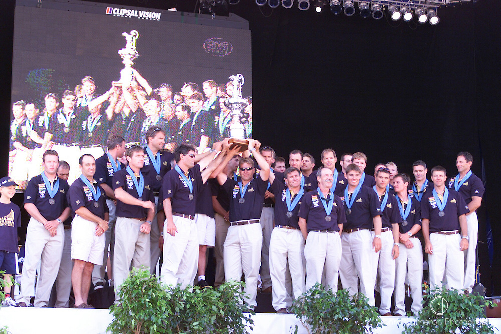 Team New Zealand celebrate the winning of the America's Cup. 2000