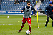 Birmingham City defender Maxime Colin (5) warms up before kick off during the EFL Sky Bet Championship match between Queens Park Rangers and Birmingham City at the Loftus Road Stadium, London, England on 28 April 2018. Picture by Andy Walter.