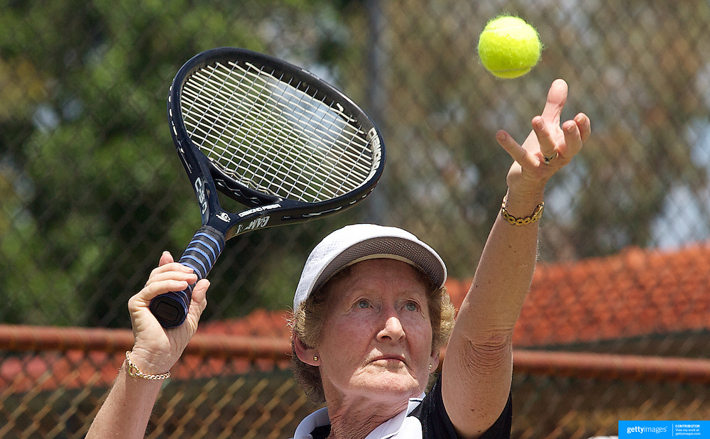Janette Robb, New Zealand,  in action against Peg Hoysted, Australia, in the Queens Cup match during the 2009 ITF Super-Seniors World Team and Individual Championships at Perth, Western Australia, between 2-15th November, 2009..