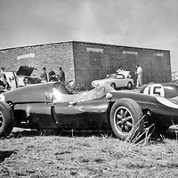 #4 Cooper Climax of Dr. Dave Wright, #15 is the Lotus XI of George Mennie at the 1960 Rand Winter Trophy, South Africa