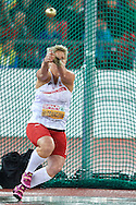 Anita Wlodarczyk from Poland competes in women's hammer throw final during the Fourth Day of the European Athletics Championships Zurich 2014 at Letzigrund Stadium in Zurich, Switzerland.<br /> <br /> Switzerland, Zurich, August 15, 2014<br /> <br /> Picture also available in RAW (NEF) or TIFF format on special request.<br /> <br /> For editorial use only. Any commercial or promotional use requires permission.<br /> <br /> Photo by © Adam Nurkiewicz / Mediasport