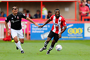 Troy Archibald-Henville (5) of Exeter City on the attack during the EFL Sky Bet League 2 match between Exeter City and Lincoln City at St James' Park, Exeter, England on 19 August 2017. Photo by Graham Hunt.