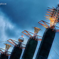 The Skystations, the public art implement on top of the Bartle Hall Convention Center in downtown Kansas City, Missouri.
