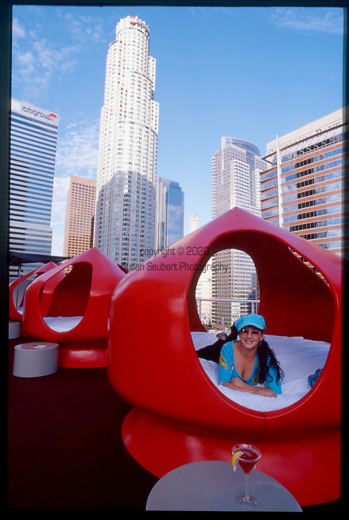 The vibrating waterbed pods at the Rooftop Bar at the Standard Hotel in downtown Los Angelesis next to the heated swimming pool and situated on the red AstroTurf deck.